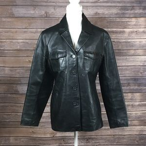 J. Crew Leather Button Down Jacket